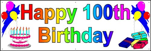 HAPPY 100th BIRTHDAY BANNER 2FT X 6FT NEW LARGER SIZE