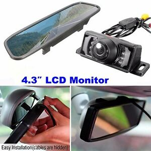 4.3 Color Digital Car with License Plate Rearview Mirror Monitor+Backup Camera   712166124093