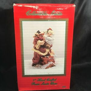 Vintage-THC-Hand-Crafted-7-034-Tall-Resin-Santa-Claus-Original-Box