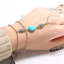 Turquoise-and-Silver-Patterned-Flower-Oval-Body-Chain-Bracelet-Jewellery-Dainty thumbnail 2