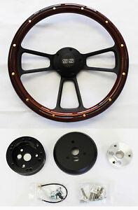 Nova-Chevelle-El-Camino-Steering-Wheel-Mahogany-Wood-amp-Black-Spokes-14-034-SS-Cap