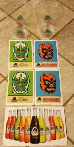 Jarritos Soda Sticker Lot /& 2 Sample Cups Luchador mask mandarin /& lime Mexico
