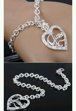Heart & Chain Bracelet anklet 925 Stamped Silver lady men christmas newyear gift