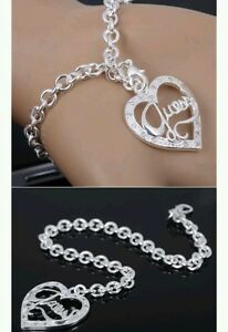 Heart-amp-Chain-Bracelet-anklet-925-Stamped-Silver-lady-men-christmas-newyear-gift