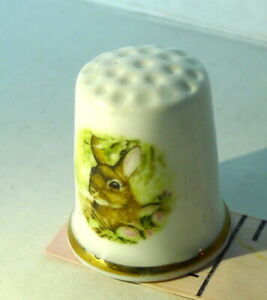 Bone China Made in England Bunny Rabbit Thimble Vintage