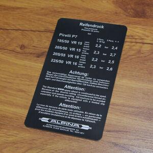 Details About Bmw Alpina E12 E21 E23 E24 E28 Tire Pressure Sticker Decal Reifendruck Aufkleber