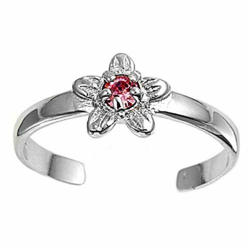 Zehenring Fußschmuck verstellbar Sterling Silber Rosa Zirkonia Blume 2