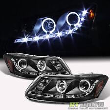 Black 2008-2012 Honda Accord Sedan LED Halo Projector Headlights w/Running Lamps