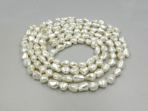 "Blanc Brillant perlée Shell Nugget Perles x 32-15.5/"" brins-Faire un collier"
