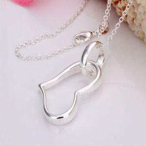 ASAMO-Damen-Halskette-mit-Herz-Anhaenger-925-Sterling-Silber-plattiert-H1080