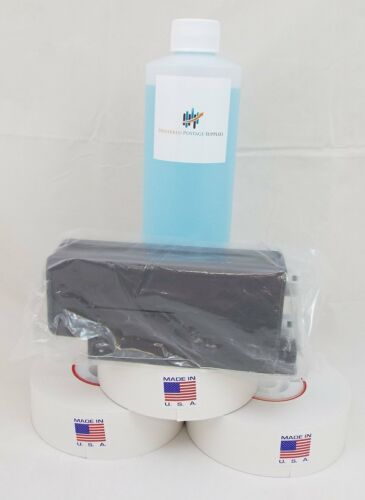 Red Ink Cartridge-PPS 766-8 for DM Series + 3 pk meter rolls+16 oz of Solution