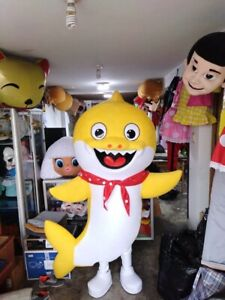 Baby Shark Yellow Mascot Costume Birthday Party Character Fancy Dress Adult
