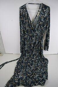 Jessica Simpson Maternity Womens Maxi Dress Sz XL Blue Green Snakeskin Print