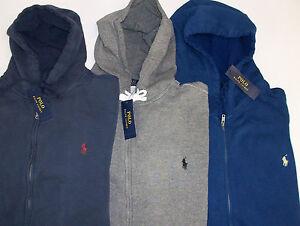 Details about Polo Ralph Lauren Full Zip Weathered Fleece Hoodie Sweatshirt $125 Blue Gray NWT