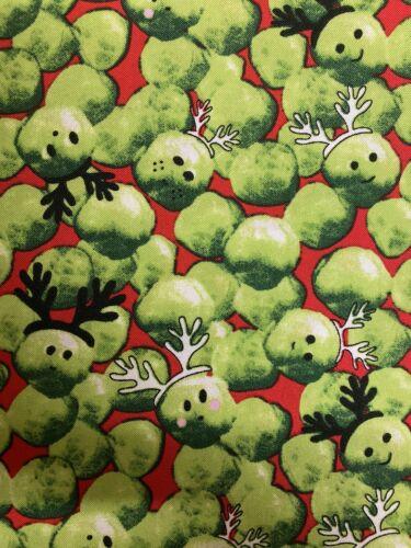 Navidad festiva brotes Coles De Poliéster Tela Por Medio Metro X 145cm Rojo
