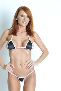 874761443e micro bikini w  g-string black stretch satin white trim USA made S M ...