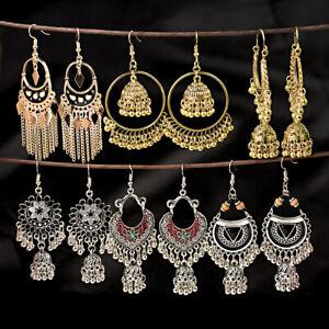 Fashion-Bollywood-Bohemian-Silver-Gold-Plated-jhumka-Handmade-Dangle-Earrings