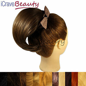 Cheveux-a-Pincer-Chignon-a-clip-Queue-de-cheval-court-cheval-droit-Postiche