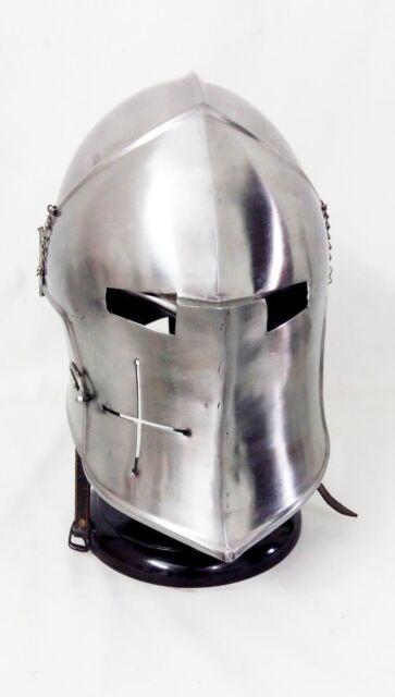 Medieval Barbuta BLACK Helmet Knights Templar Crusader Armour Helmet SCA