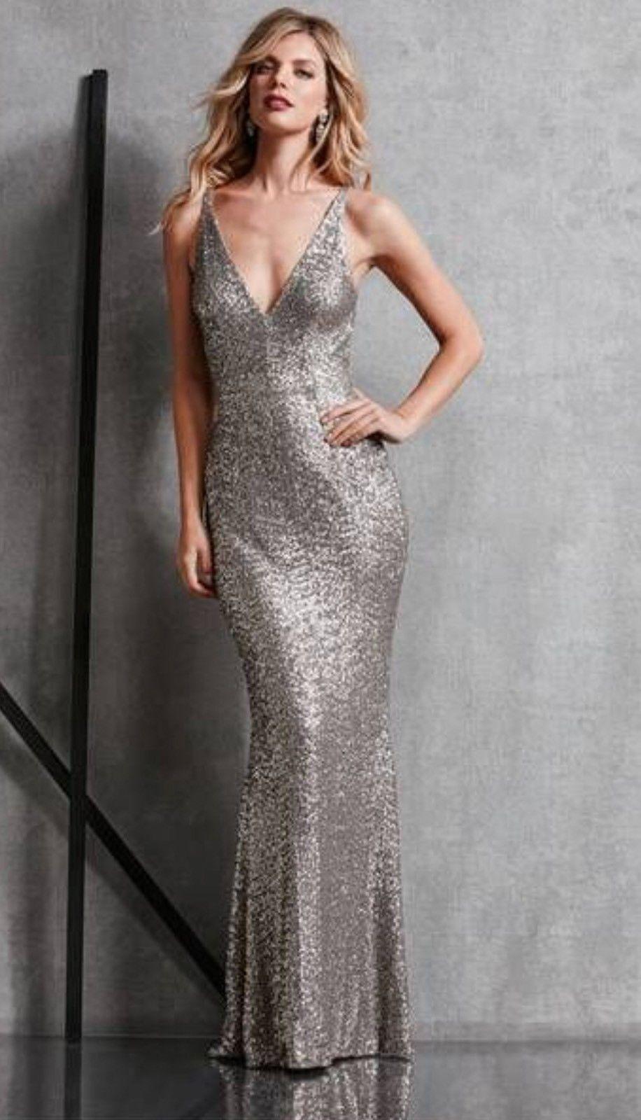 Dress The Population Harper Meerjungfrau Paillette Silber Abendkleid GRÖSSE S