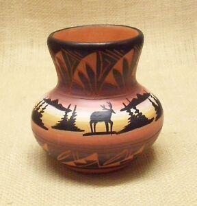 ute mountain native american pottery small flower vase mountain