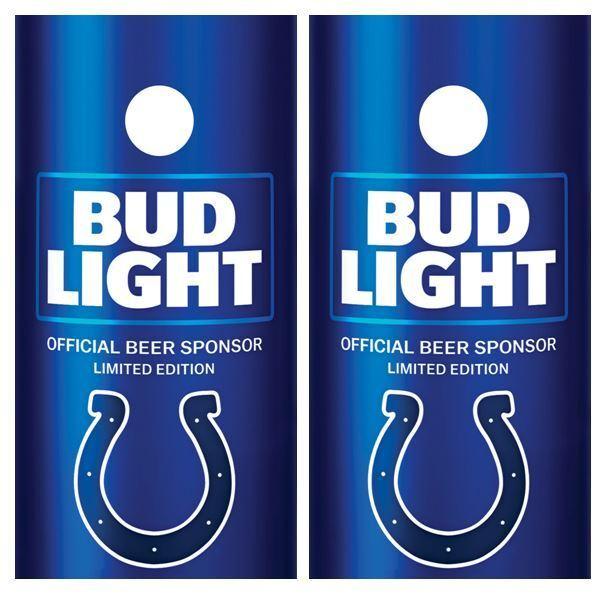 Bud Light   Indianapolis Colt's  Cornhole Board Decal Wrap FREE Laminate  team promotions