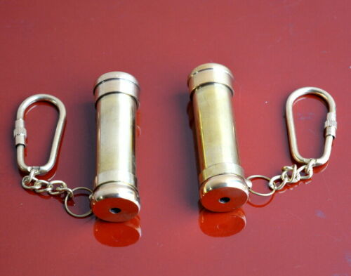 """Vintage 2/"""" brass key chain kaleidoscope with polish finishing lot of 2 pieces"""