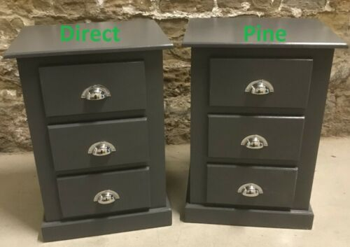X2 PAIR SHAFTESBURY 3 DRAWER BEDSIDE CABINETS DARK GREY//CHROME CUP HANDLES