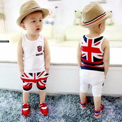 Kids Baby Boys Summer Sleeveless Union Jack Outfits Vest Tops Pants Set Clothes