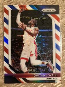 Dwayne-Wade-2018-19-Prizm-Red-White-amp-Blue-Insert-Miami-Heat-SP-RWB-206
