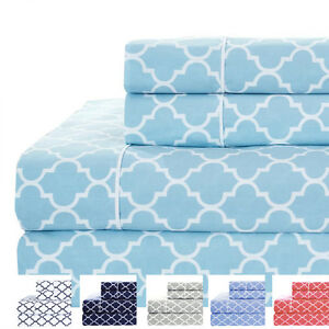 Details About Full Size Bed Sheet Set 4pc Printed Meridian 100 Cotton Percale Weave Sheets