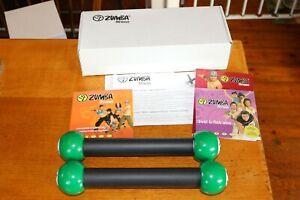Boxed-Zumba-Fitness-Kit-Toning-sticks-amp-6-workouts-on-4-dvd-039-s-set-amp-Instructions