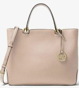 eca0702dd345 Michael Kors Leather Anabelle Large Top Zip Tote Bag Soft Pink ...