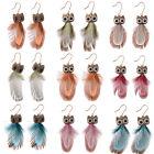 New Women Hook Dangle Owl Feather Animal Pendant Jewelry Earrings 1 Pair