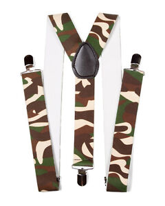 CAMO-CAMOFLAGE-ELASTIC-BRACES-CLIP-ON-SUSPENDERS
