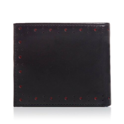 Fred Perry Punched Brogue Billfold /& Coin Wallet Genuine Leather Black L7331-102