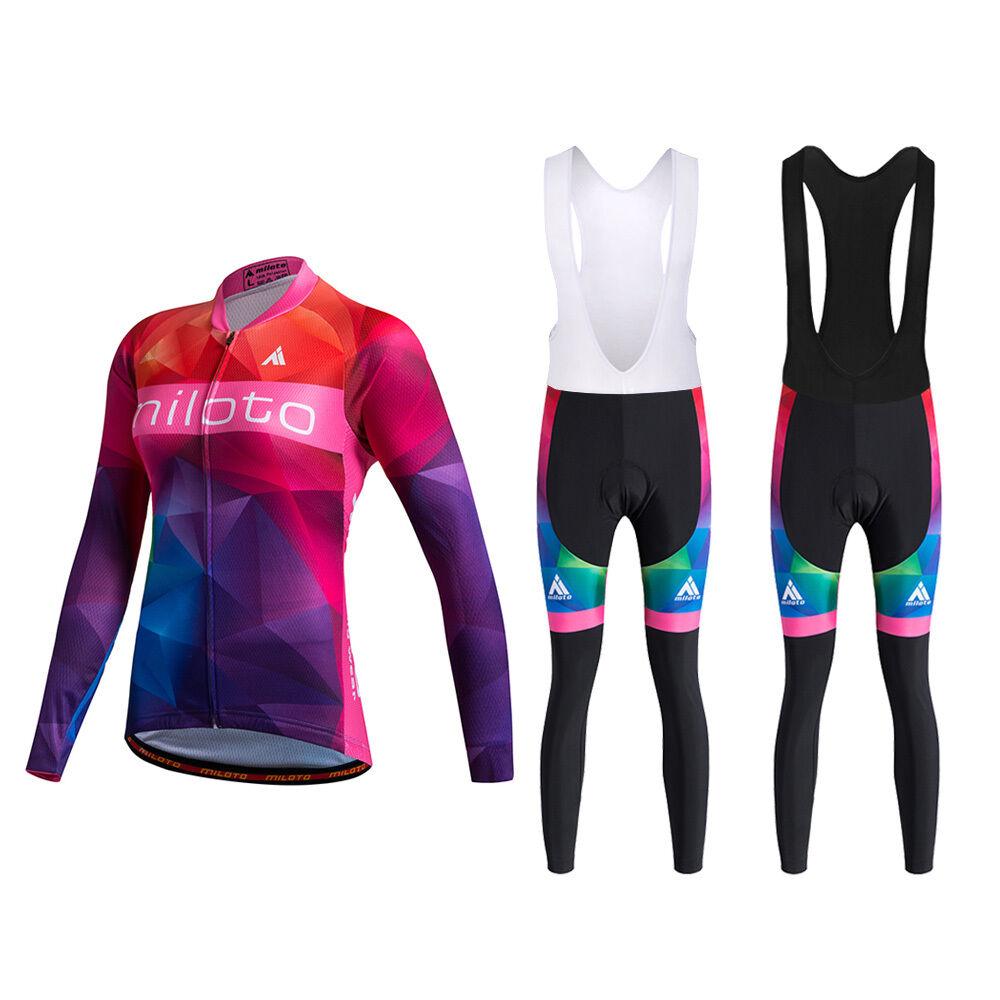 Women's Long Sleeve Cycling Jersey Bib Pants Tight Winter Bicycle Clothing Set