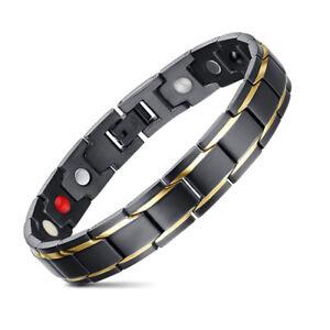 Image Is Loading Jfume Black Mens Magnetic Bracelet Pain Relief For