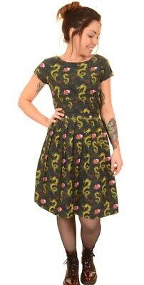 RUN/&FLY Retro Vintage 50/'s style tea dress with dragon /& rose tattoo style print