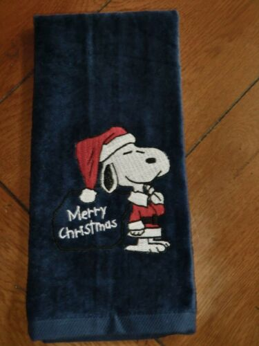Merry Christmas Snoopy Embroidered Velour Hand Towel Navy Towel