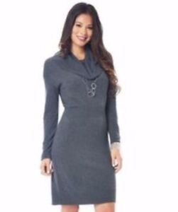 bc109a85d15 DAISY FUENTES Small CHARCOAL HEATHER GRAY COWL NECK SWEATER DRESS ...