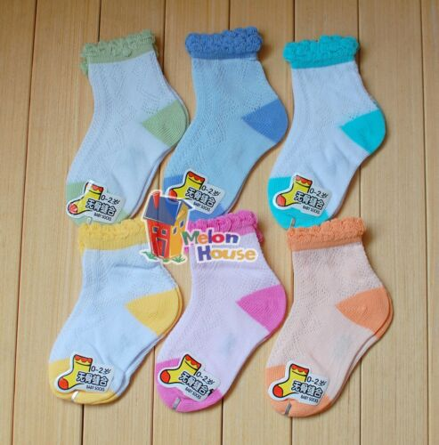 Set of 6 pairs Baby Newborn Boys Girls Toddler Frilly Cotton Crew Mesh Socks