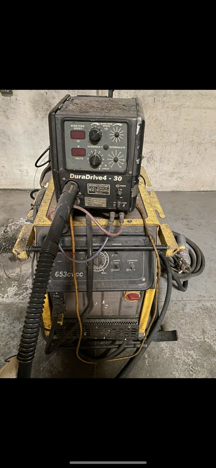 ESAB 653 CVCC Welder with DuraDrive 4 - 30 Wire Feeder with Foot Control. Available Now for 4500.00