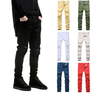 Men-039-s-Skinny-Distressed-Jeans-Slim-Biker-Hip-hop-Denim-Pants-Knees-Ripped-Zipper