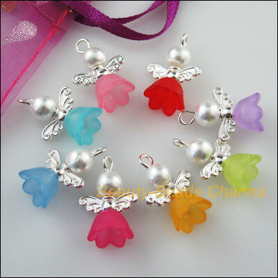 8Pcs Silver Plated Wings Mixed Dancing Angel Charms Pendants 14x19mm