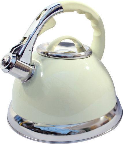 Sifflement Crème Acier 3.5ltr Bouilloire de voyage//camping gaz plaque de cuisson cuisine