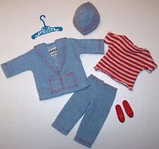 Vintage Skipper Doll #1917 Land & Sea Light Blue Denim Outfit 1965 Barbie