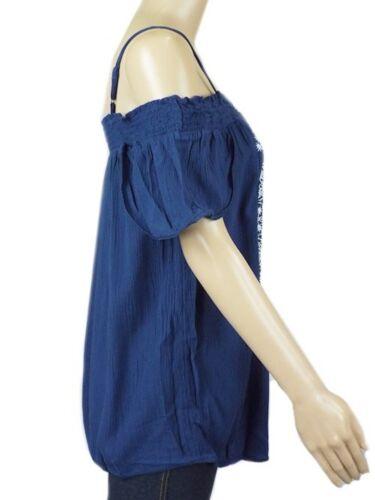 New Ex M/&S Navy Viscose Embroider Cold Shoulder Bardot Blouse Top 12-20 RRP £28