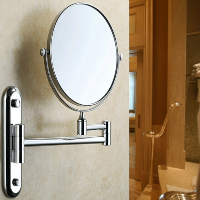 10x Extending Magnifying Makeup Bathroom Shaving Round 2 Side Mirror Wall Mount