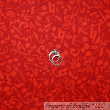BonEful FABRIC FQ Cotton Quilt Red Tone MUSIC NOTE Band Treble Bass Clef Guitar
